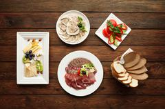 Catering - meat assortment plate - stock photo