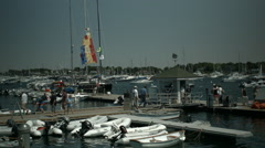 Yacht Club, Moored Sail Boats, Dock Stock Footage