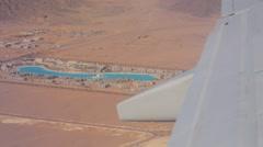 Egyptian hotelin desert, plane view Stock Footage