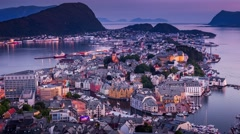 Stock Video Footage of 4k, Timelapse, view in Aksla mountain Alesund, Norway