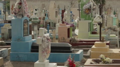 Colorful Cemetery Grave Yard Tombs, Pan Across Stock Footage