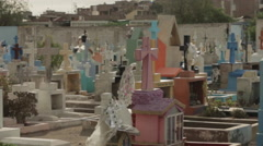 Colorful Cemetery Grave Yard Pan Stock Footage
