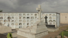 Old Creepy Cemetery Grave Yard Mausoleum Stock Footage