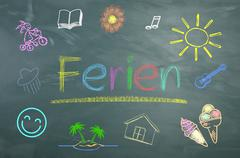Chalkboard Holiday, text in German - stock illustration
