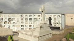 Creepy Cemetery Grave Yard Mausoleum, Pan Across Stock Footage