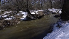 Snowy Forest with small river - stock footage
