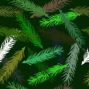 Vector seamless pattern of spruce branches on a green background. Stock Illustration