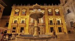 Malaga Plaza del Obispo Square - stock footage