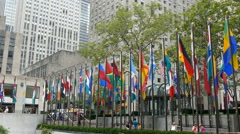 Flags at Rockefeller Center, Manhattan, New York City - stock footage