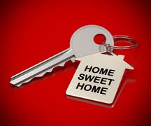 home sweet home red background - stock illustration