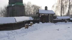 Panorama on Wooden Church Entrance Fence Old-Aged Buildings Bell Towers Winter - stock footage