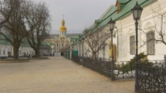 People at Dormition Cathedral Walking by Square Holy Dormition Kiev-Pechersk - stock footage
