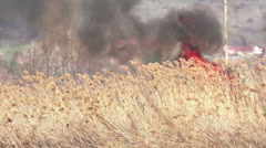 Strong fire with of choking smoke erupted in southern steppe during the summe Stock Footage