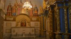 Fresco in Kiev-Pechersk Lavra Saint Barsanuphius and John the Prophet's Day - stock footage