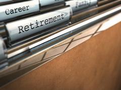 retirement folder, end of career - stock illustration