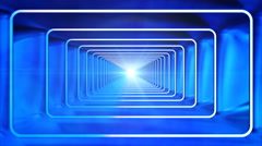 Broadcast Endless Hi-Tech Tunnel, Blue, Abstract, Loopable, 4K Stock Footage