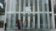 Apple Store Entrance, Fifth Avenue, Manhattan, New York City - stock footage