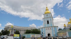 Beautiful church with golden domes and blue sky with clouds Stock Footage