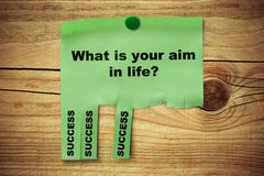 tear off notice, what is your aim in life, success - stock photo