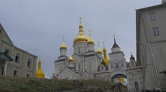Motion Toward an Arch of Transformation Cathedral Holy Dormition Pochiv Lavra - stock footage