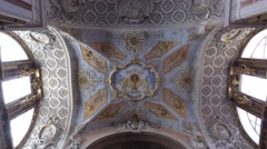 Tilt view of ceiling and altar of St. Catherine church in Lisbon, steady shot Stock Footage