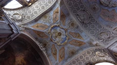 ornate ceiling of Saint Catherine church in Lisbon Portugal - stock footage