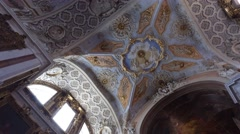 Ornate ceiling of Saint Catherine church in Lisbon Portugal Stock Footage