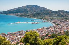 Aerial view of Zakynthos city - stock photo