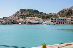 View of town and port in Zakynthos city Stock Photos