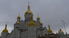 Panorama of a Buildings Transformation Cathedral Holy Dormition Pochiv Lavra - stock footage