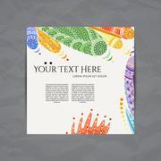 Vector design templates. Brochures in random colorful style. Zentangle designs - stock illustration