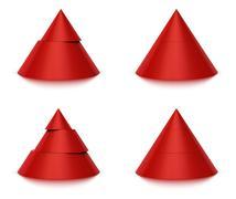 3d conical shape sliced, 2 or 3 levels - stock illustration