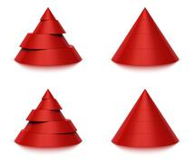 3d conical shape sliced, 4 or 5 levels - stock illustration