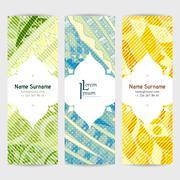 Set of vector design templates. Brochures in random colorful style. Zentangle - stock illustration