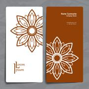 Stock Illustration of Set of vector design templates. Business card with floral circle ornament