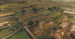 Aerial Shot over fields Stock Footage
