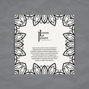 Vector design template. Business card with floral circle ornament. Mandala style - stock illustration