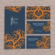 Set of vector design templates. Business card with floral ornament. Vintage Stock Illustration
