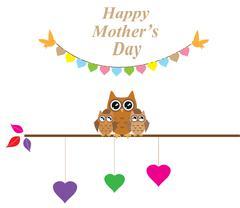 owl mom - stock illustration