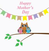 Owl mom Stock Illustration