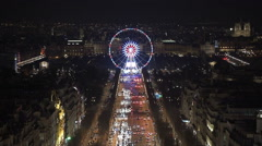 Paris ferris wheel at night Stock Footage