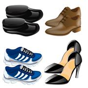 Much miscellaneouses footwear Stock Illustration