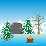 Deserted winter landscape Stock Illustration