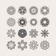 Set of ornate vector mandala symbols. Gothic lace tattoo. Celtic weave with Stock Illustration