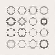 Set of ornate vector mandala borders and frames. Gothic lace tattoos. Celtic - stock illustration