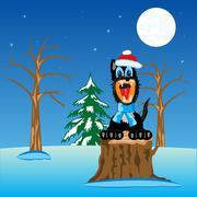 Wildlife wolf in wood - stock illustration