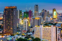 Bangkok Financial District Cityscape Stock Photos