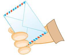 Postal envelope in hand - stock illustration