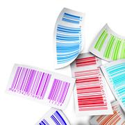 Multicolored bar codes top view over white Stock Illustration
