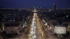 Paris financial district at night Stock Footage
